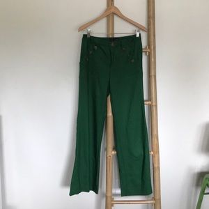 Anthropologie Emerald Green Wide Leg Trousers.